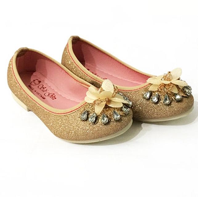 Giày Búp Bê Bé Gái Đính Hoa Đá Vàng