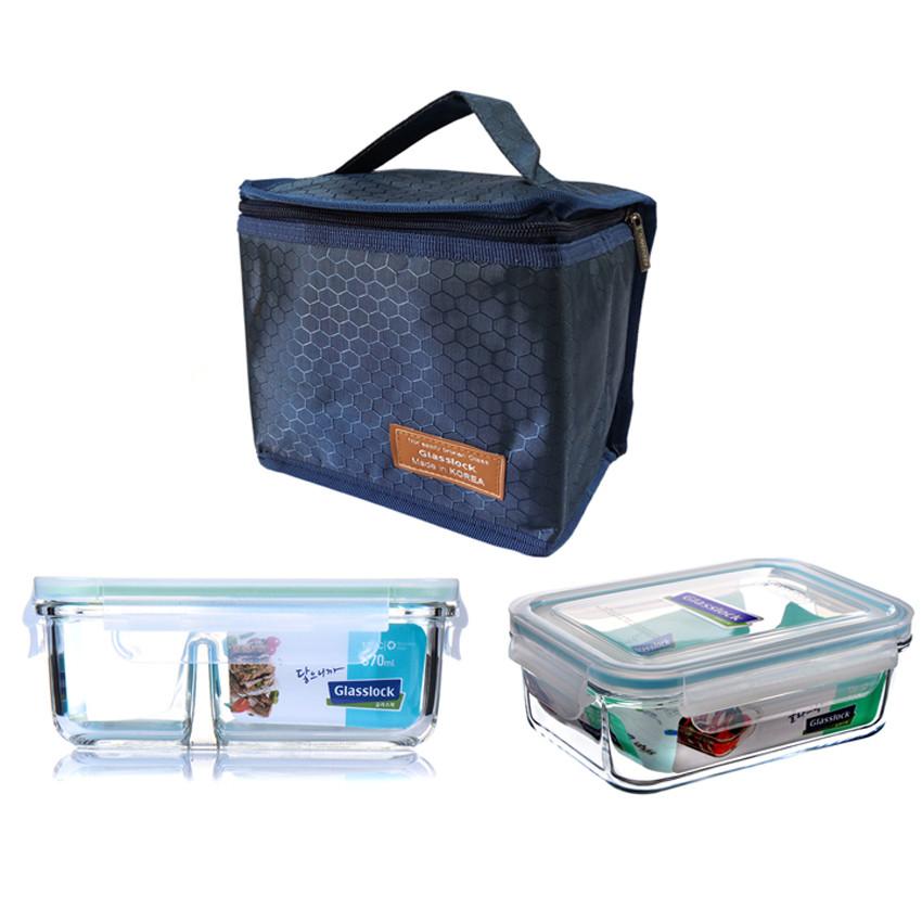 Bộ hộp cơm thủy tinh chịu lực Glasslock (715ml + 670ml chia ngăn) kèm túi giữ nhiệt