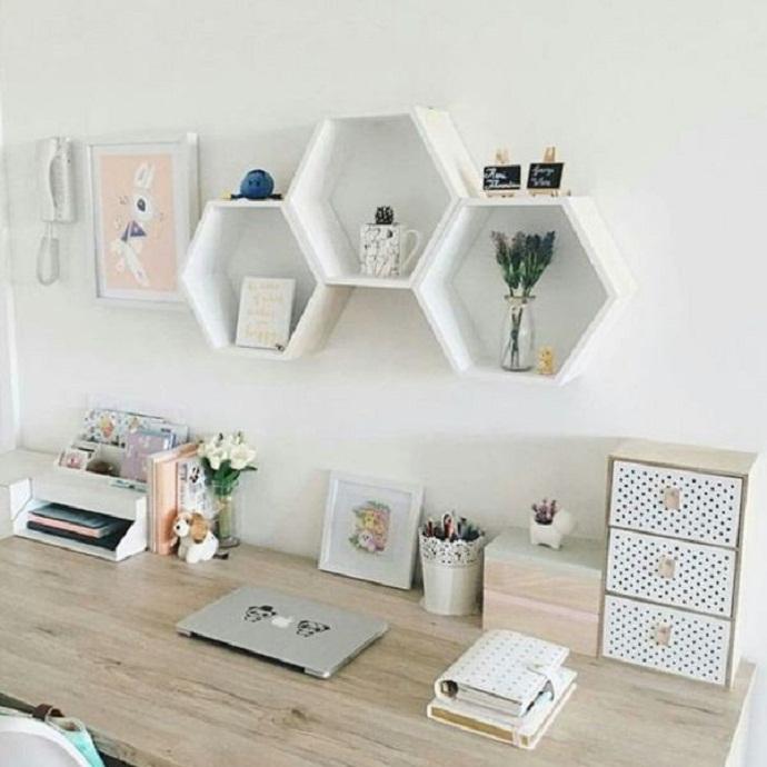 Bộ 3 kệ trang trí kệ treo tường hình tổ ong hình lục giác cao cấp màu trắng