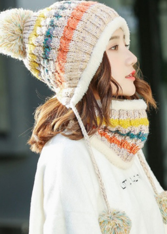 Bộ mũ len và khăn trùm cổ sọc màu A003
