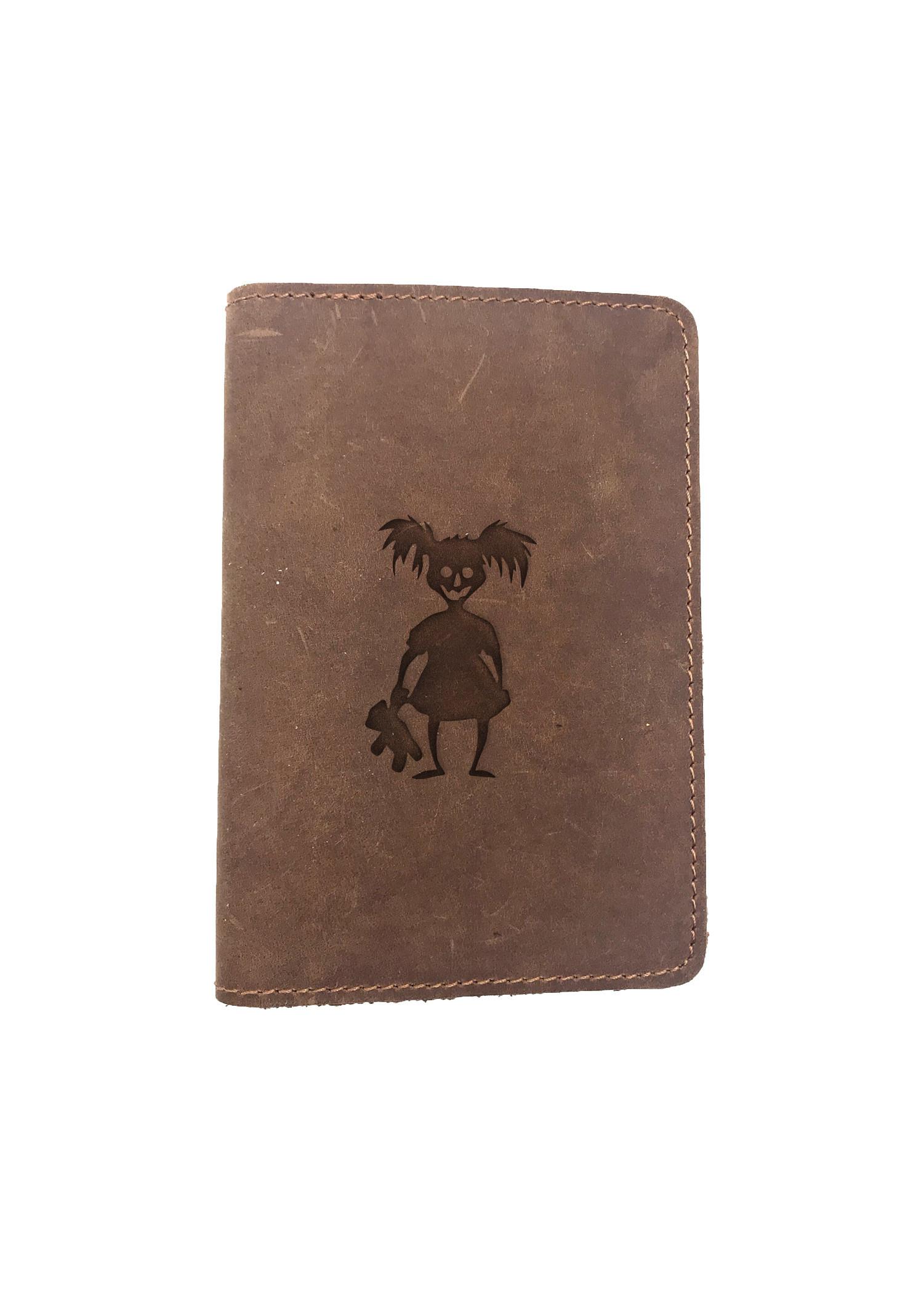 Passport Cover Bao Da Hộ Chiếu Da Sáp Khắc Hình Cô gái OMBIE GIRL (BROWN)