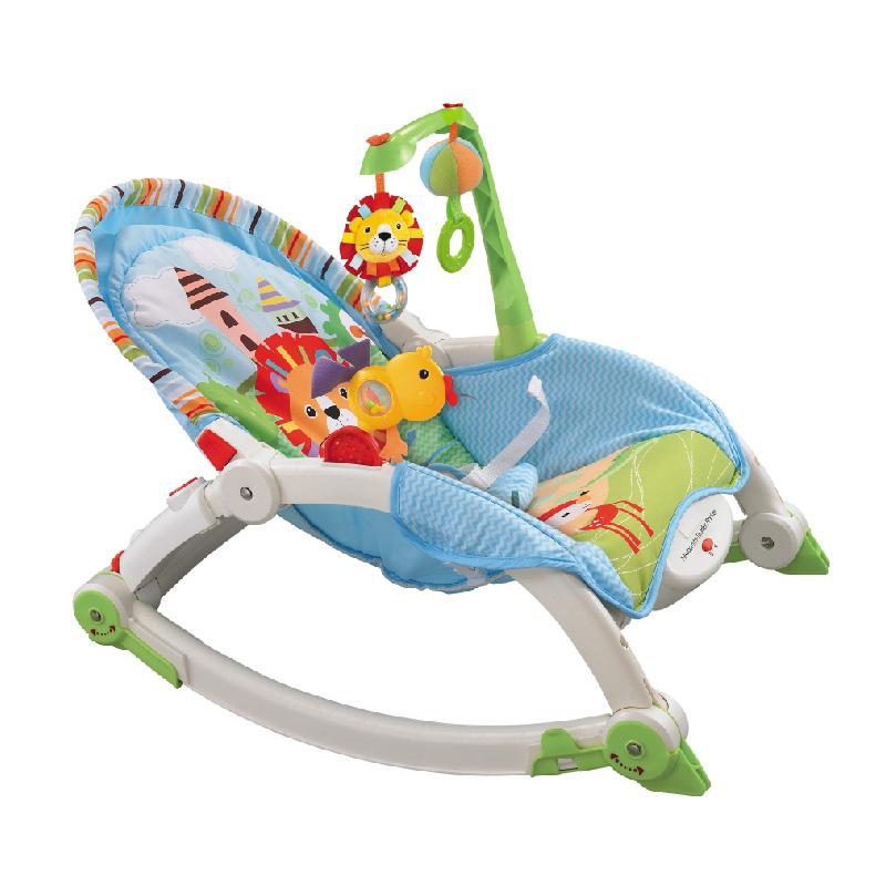 Ghế rung có nhạc và thanh đồ chơi vận động (Màu xanh)