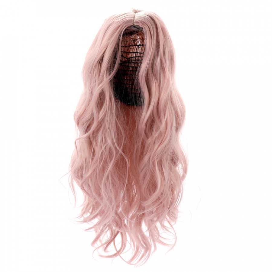 High-temperature Matt Synthetic Fiber Lace Front Big Curly Wigs for The Long Curve Natural Matt Hairpiece Fantasy Pink