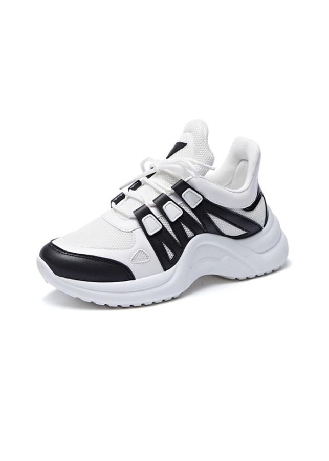 Sneaker Giày Nữ Độn Đế Màu Trắng Đen Xám Nguyên Khối Ấn Tượng Năng Động