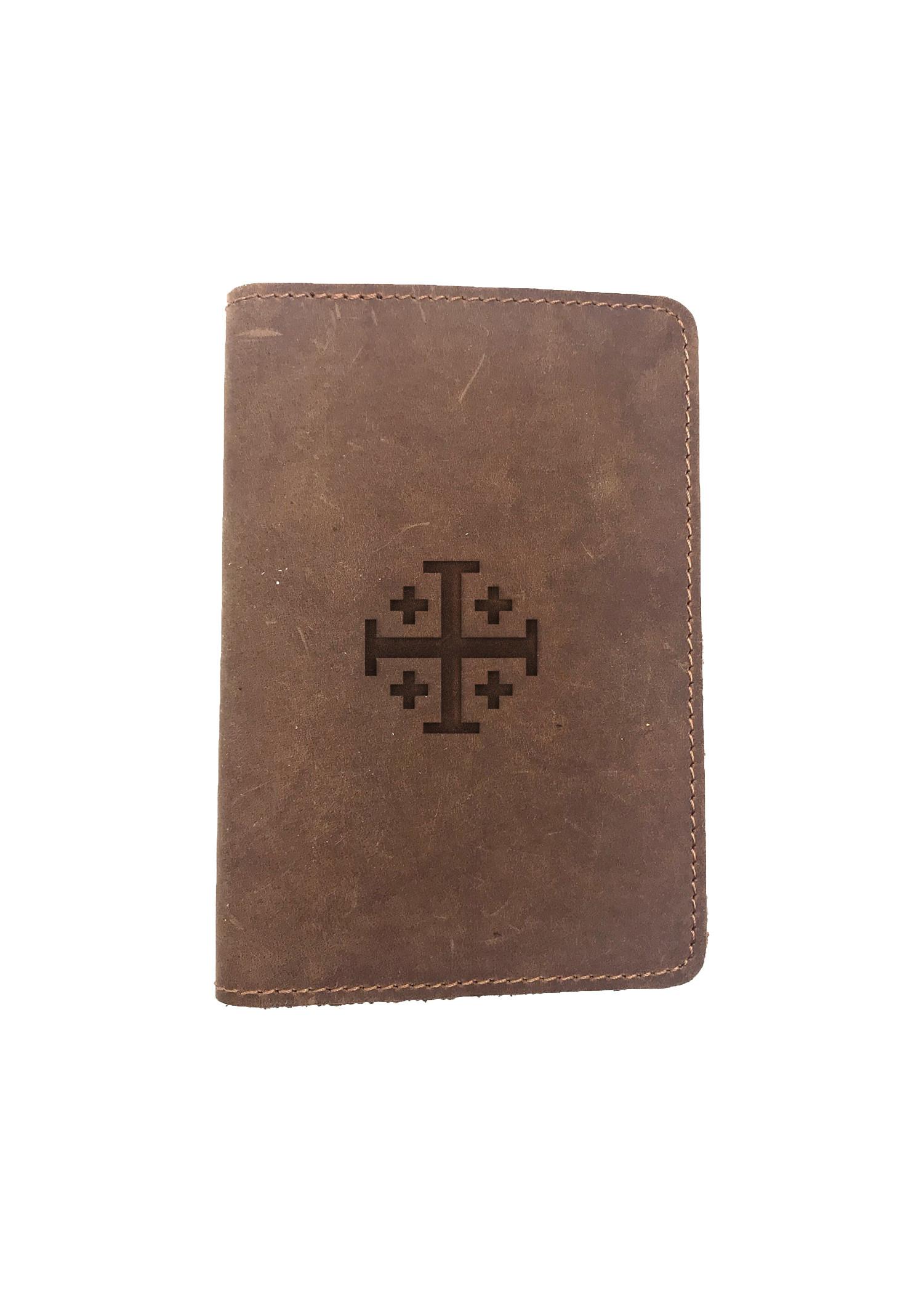 Passport Cover Bao Da Hộ Chiếu Da Sáp Khắc Hình Hình JERUSALEM CROSS (BROWN)