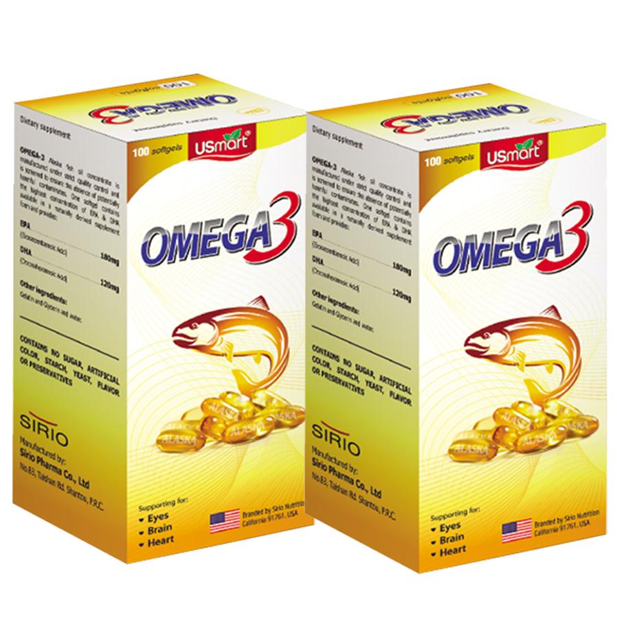 Combo 2 Lọ Thực Phẩm Chức Năng Viên nang mềm Dầu Cá Hồi bổ sung DHA EPA Omega 3 Sirio Pharma (100 viên) (Lọ cao)