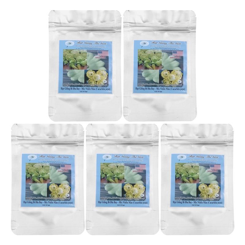 Bộ 5 Túi Hạt Giống Bí Dĩa Bay - Mix Nhiều Màu (Cucurbita Pepo) (9 Hạt/Túi)