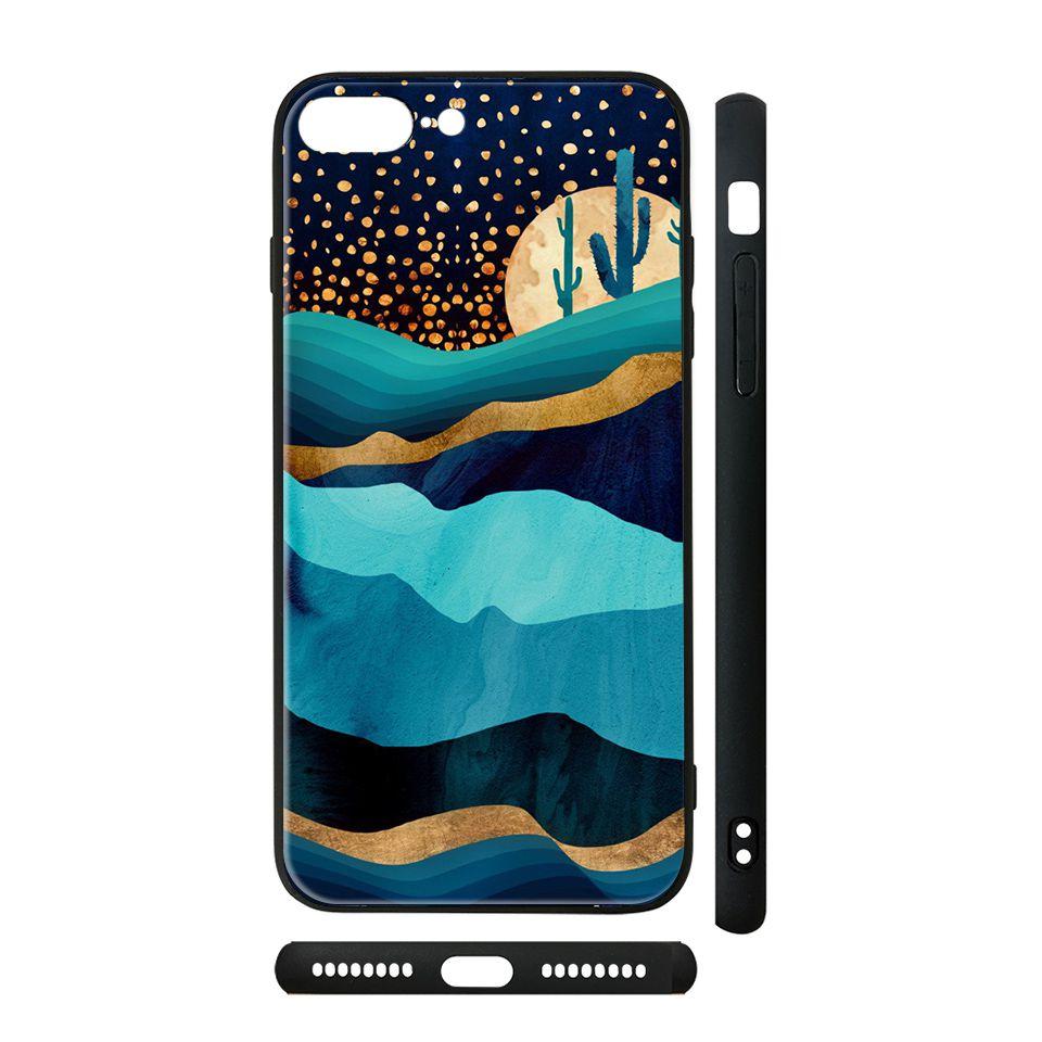 Ốp kính cho iPhone in hình Đêm sa mạc Indigo giả sơn mài - GSM175 (có đủ mã máy)