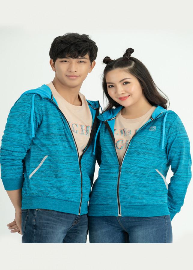 Áo khoác cặp COUPLE TX UV SUPER STAR DÂY KÉO PHẢN QUANG OOR 1012 xanh biển
