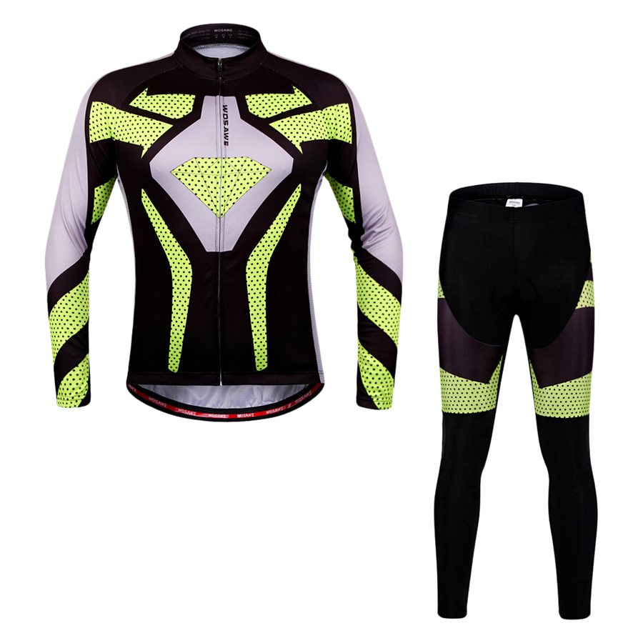 WOSAWE Quick Dry Breathable Bike Bicycle Mountain Biking Unisex Cycling Jersey Pants Tights Clothing Sets Suits Long - Size XL