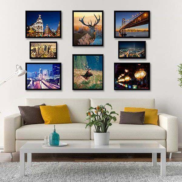 Bộ 8 tranh hiện đại treo tường phòng khách MS087
