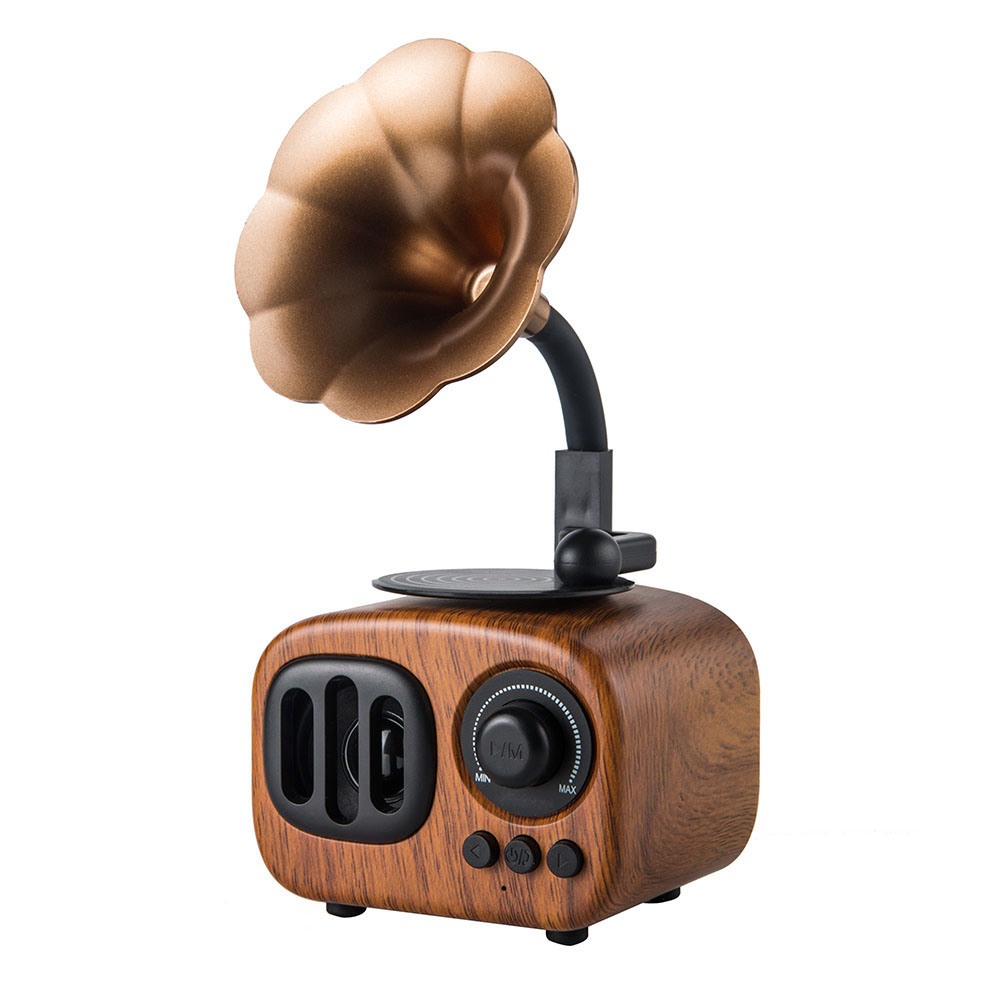 Vintage Style Wooden Texture Portable Wireless BT Speaker Built-in MIC Support TF Card/U Disk/AUX Audio Retro - Brown