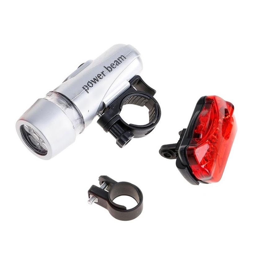 Bộ đèn pin gắn xe đạp và đèn chiếu hậu 5 LED WJ-101 Màu Trắng