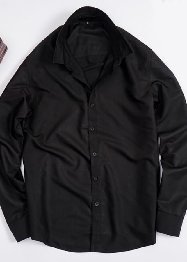Sơ mi nam dài tay dáng ôm Slim Fit - Vải lụa cotton (Đen)