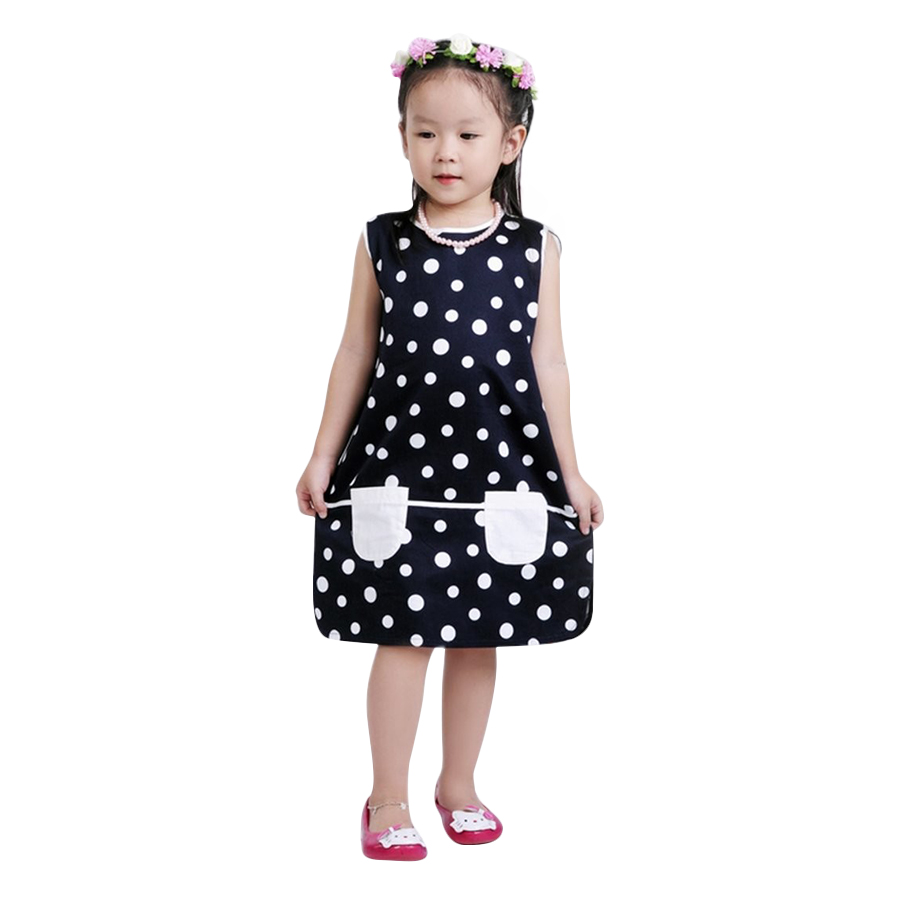 Đầm Suông Bé Gái Chấm Bi Phối 2 Túi Ugether UKID29 - Chấm Bi