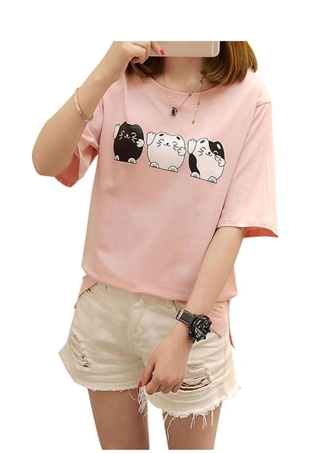 Áo thun nữ con mèo dễ thương màu dâu d468 thương hiệu Td