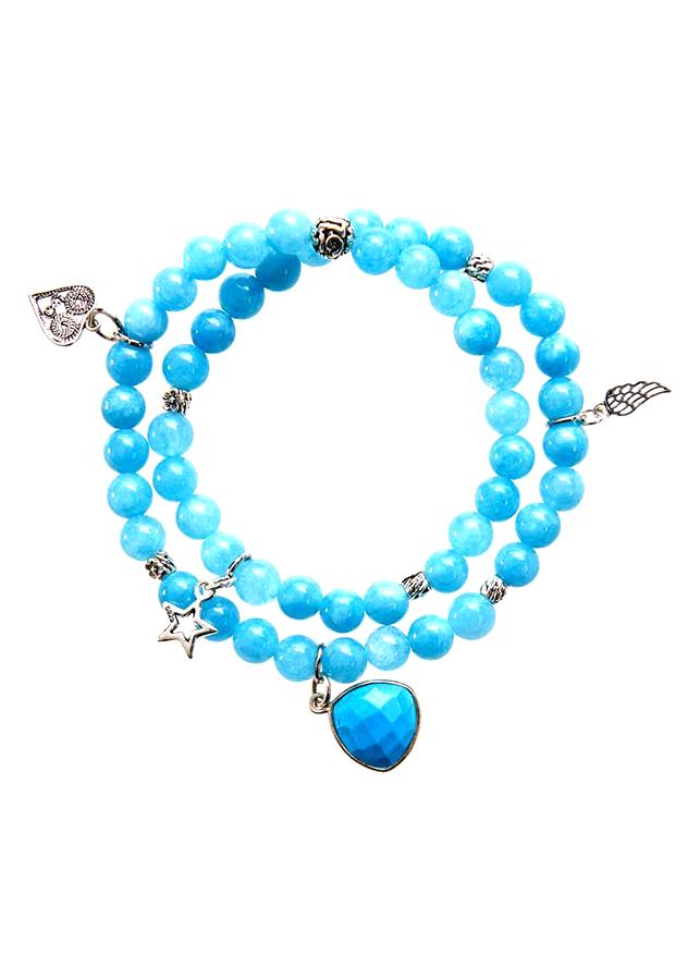 Vòng Tay Đá Aquamarine Charm Bạc, Charm Đá Turquoise Laliz