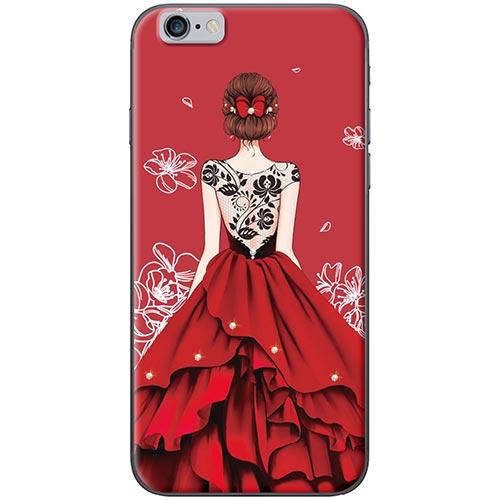 Ốp Lưng Hình Cô Gái Váy Đỏ Áo Đen Dành Cho iPhone 6 Plus / 6s Plus