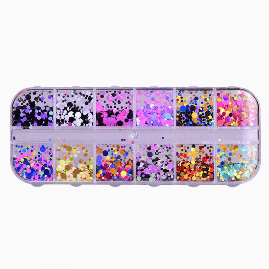 Round Sequin Nail Decoration Fashion Multicolor Manicure Laser