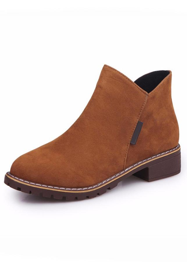 Giày Bốt Nữ Cổ Ngắn Khóa Kéo Da Mềm Êm Chân 3Fashion - 3099