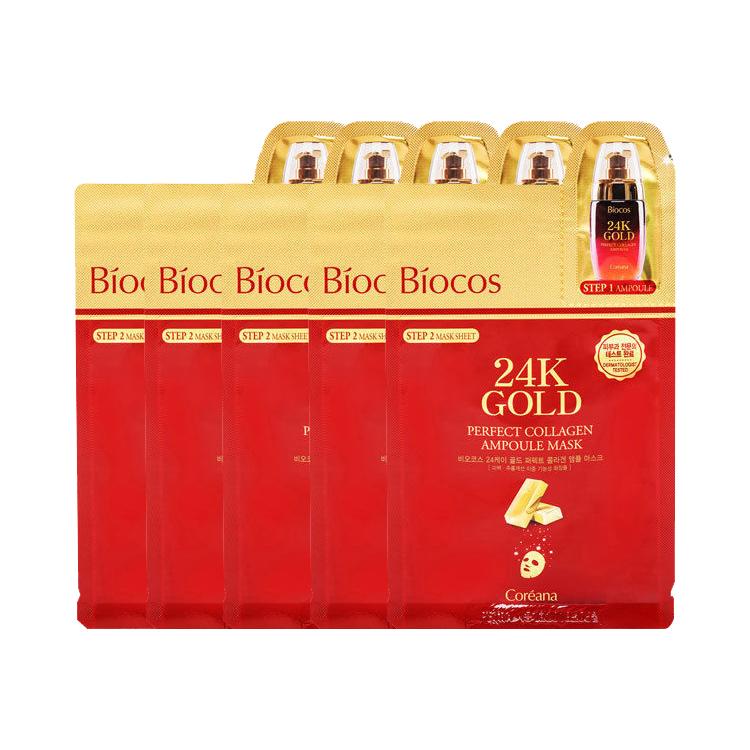 Combo 5 Mặt Nạ 2 Bước Chiết Xuất Từ Vàng 24k Giúp Trẻ Hóa Làn Da Coreana Biocos 24K Gold Perfect Collagen Ampoule Mask - 760847 , 5796856425078 , 62_8387284 , 300000 , Combo-5-Mat-Na-2-Buoc-Chiet-Xuat-Tu-Vang-24k-Giup-Tre-Hoa-Lan-Da-Coreana-Biocos-24K-Gold-Perfect-Collagen-Ampoule-Mask-62_8387284 , tiki.vn , Combo 5 Mặt Nạ 2 Bước Chiết Xuất Từ Vàng 24k Giúp Trẻ Hóa Làn Da C