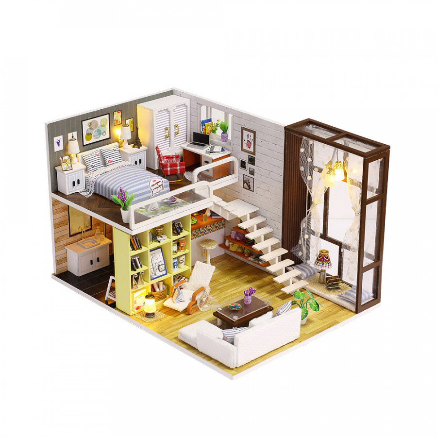 Miniature Super Mini Size Doll House Model Building Kits Wooden Furniture Toys DIY Dollhouse Girl Bedroom Contracted