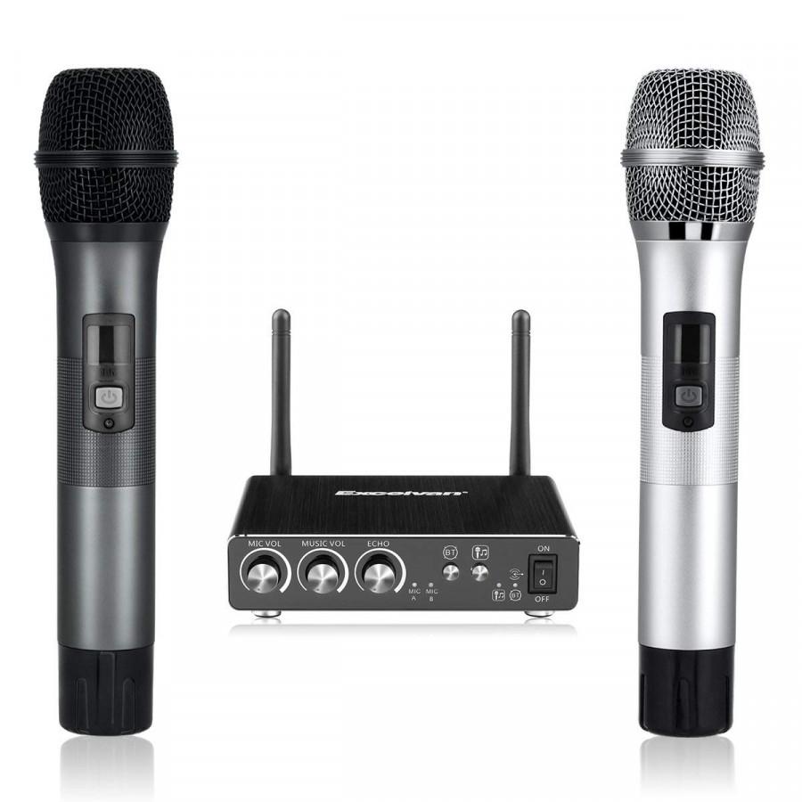 Combo 2 Micro hát Karaoke không dây Excelvan K28 kèm bộ thu phát