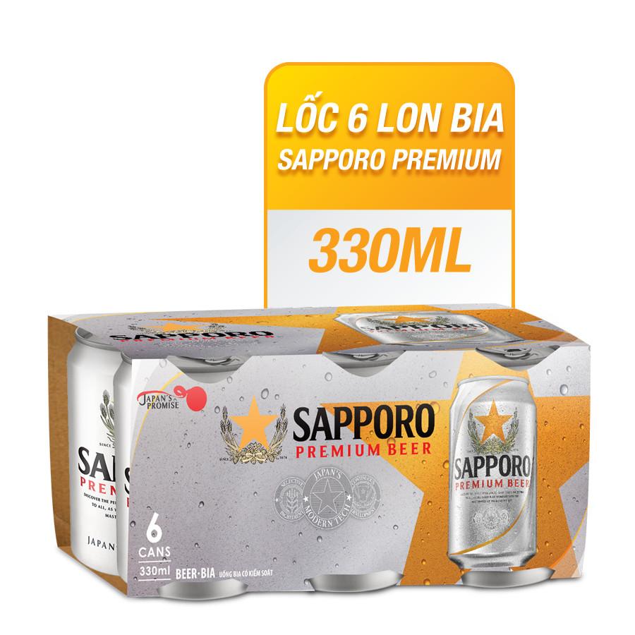 Lốc 6 Lon Bia Sapporo Premium (330ml/Lon) - 1426592 , 8936061260317 , 62_7378095 , 107000 , Loc-6-Lon-Bia-Sapporo-Premium-330ml-Lon-62_7378095 , tiki.vn , Lốc 6 Lon Bia Sapporo Premium (330ml/Lon)
