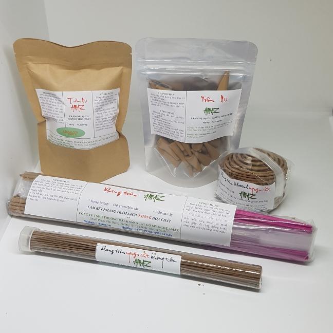 COMBO BỘ 5 SẢN PHẨM Nhang trầm  hương nguyên chất AMAZ