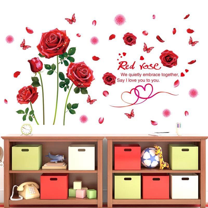Decal dán tường Hoa hồng đỏ - HP123