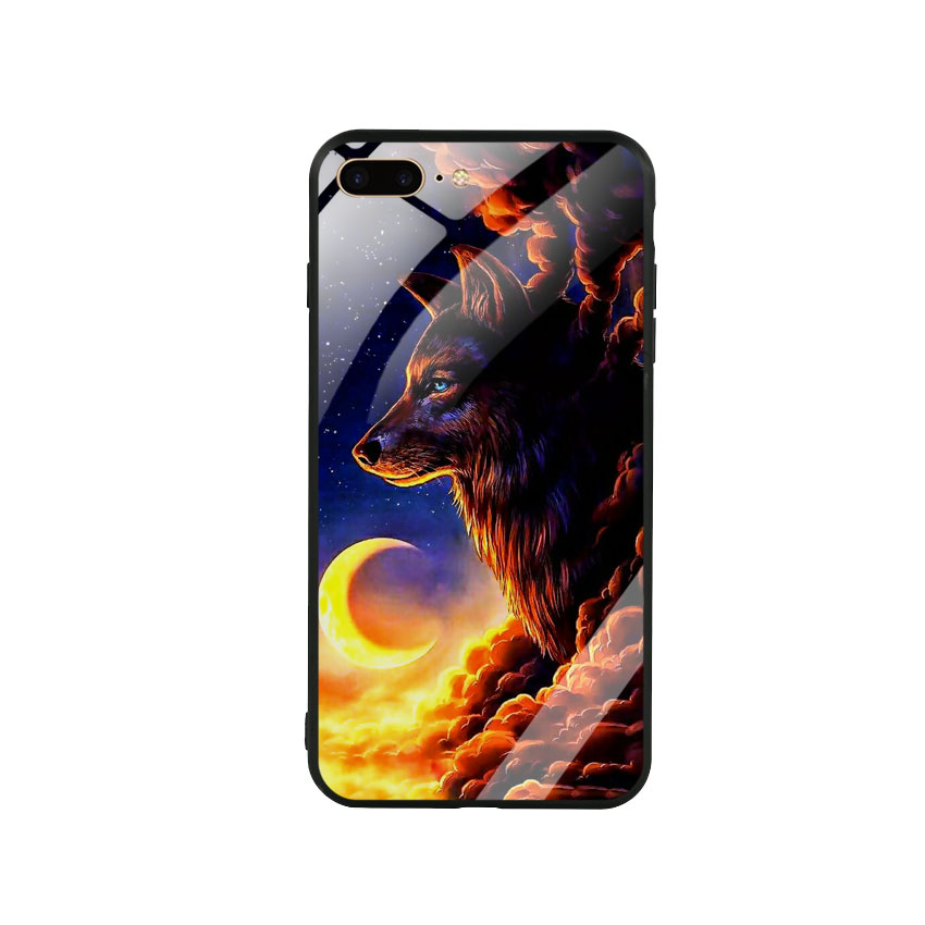 Ốp Lưng Kính Cường Lực cho điện thoại Iphone 7 Plus / 8 Plus - Wolf 03