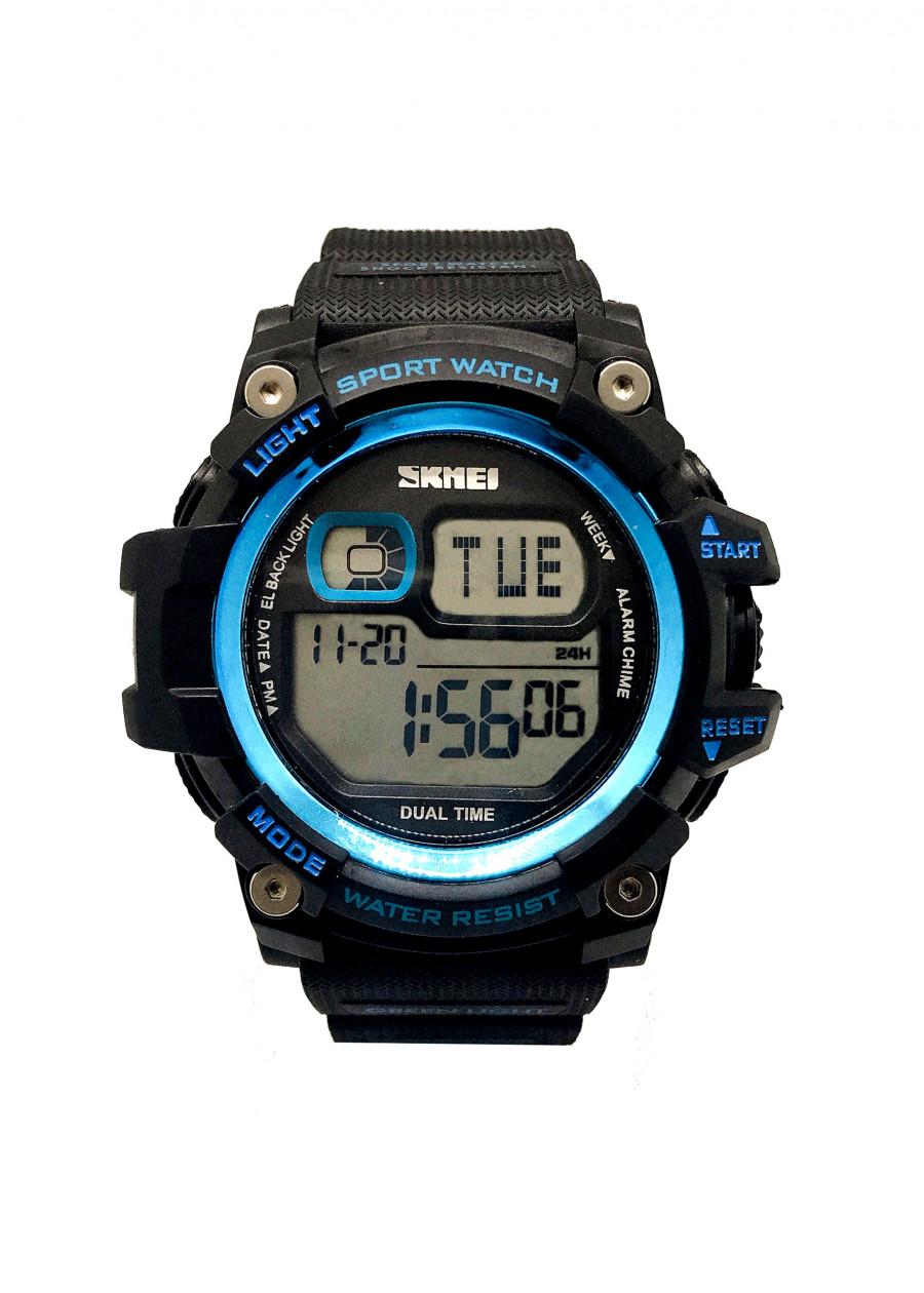 Đồng Hồ Nam Thể Thao SKMEI 1229 Dây đen mặt xanh dương (Tặng pin Nhật sẵn trong đồng hồ + Móc Khóa gỗ Đồng hồ...