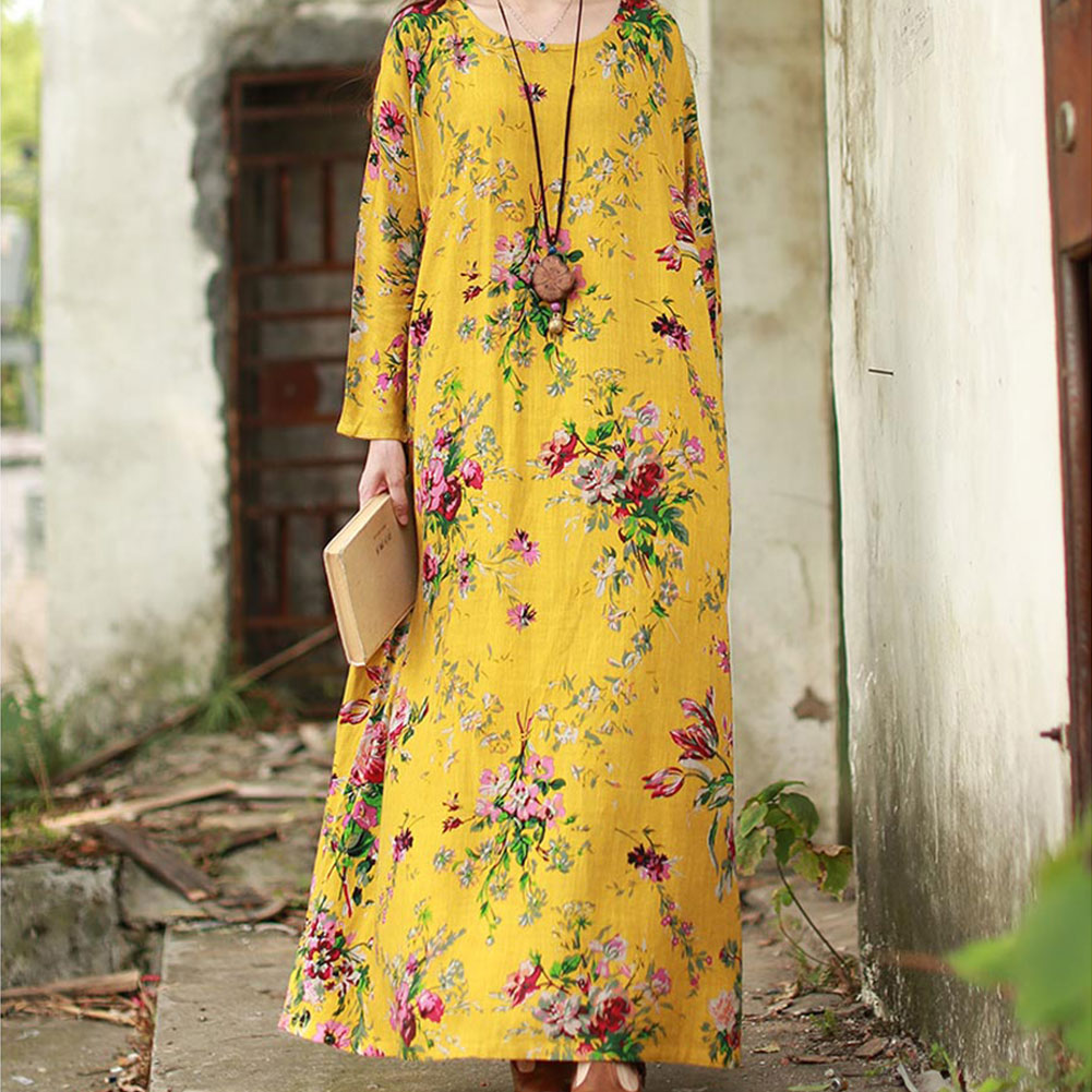 Ethnic Flower Plus Size Loose Long Sleeve O-Neck Breathable Summer Leisure Dress