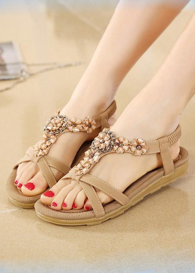 Giày sandal đế bằng nữ quai chéo đính hoa - LN1609