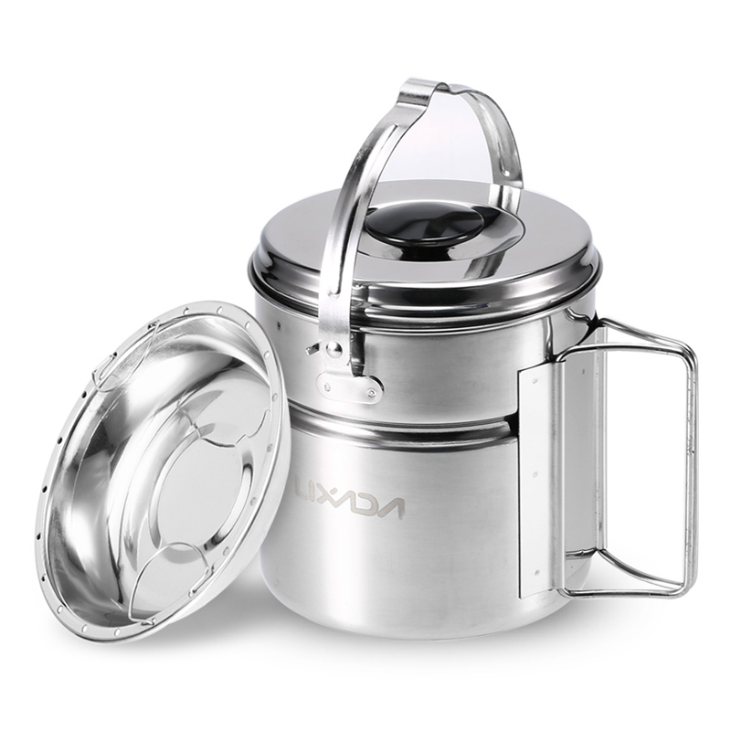 Lixada Stainless Steel Bail Handle Camping Pot with Internal Steaming Dish Foldable Handle