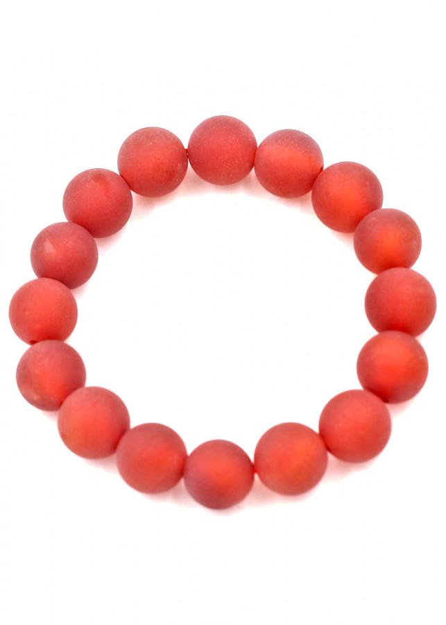 Vòng đeo tay chuỗi hạt đá thạch anh đỏ mài mờ - Sản phẩm phong thủy phù hợp cho nam và nữ