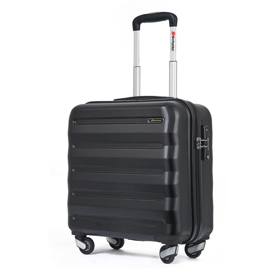 Echolac trolley case caster suitcase 16/17 inch business light suitcase PCPT008 black
