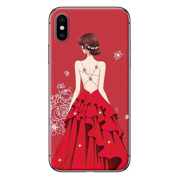 Ốp Lưng Dành Cho iPhone X - Mẫu  Cô Gái Váy Đỏ Áo Dây