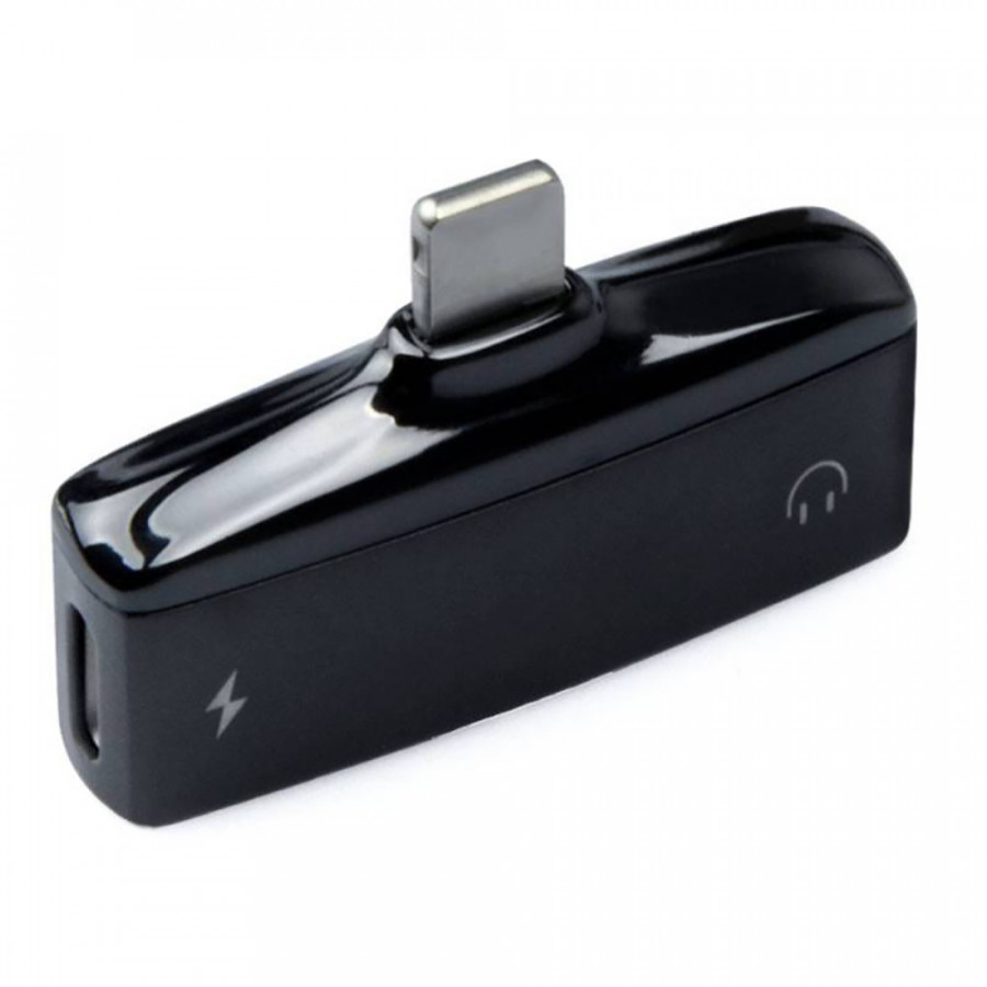 2 in 1 Mini Lightning Splitter Adapter Metal Audio AUX Converter Adapter with Dual Ports 3.5mm Headphone Jack Charging