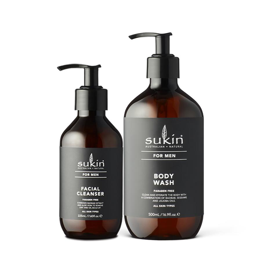 Combo Làm Sạch Da Cơ Bản Cho Nam Sukin Men Facial Cleanser 225ml + Men Body Wash 500ml