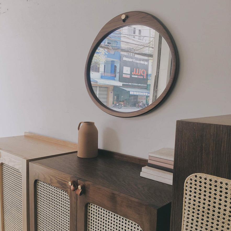Gương Tròn viền gỗ sồi đường kính 50