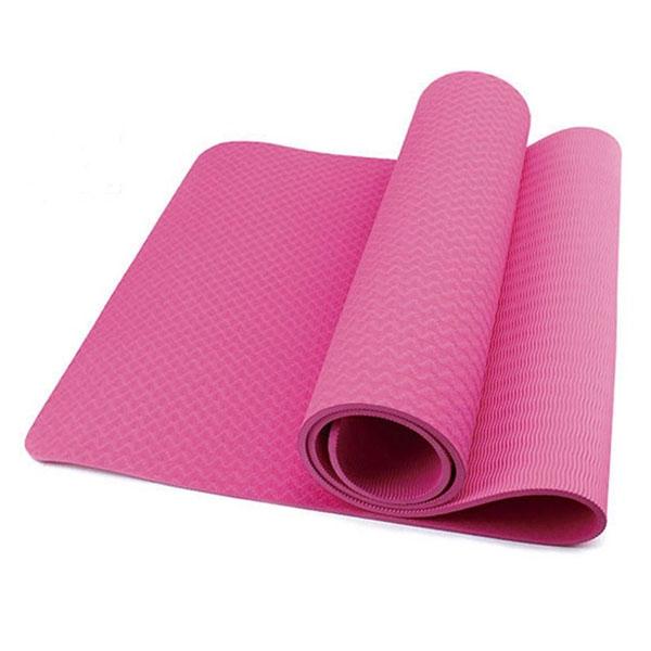 Thảm tập yoga TPE 1 lớp 6mm (Hồng) + Tặng túi đựng thảm và dây buộc thảm
