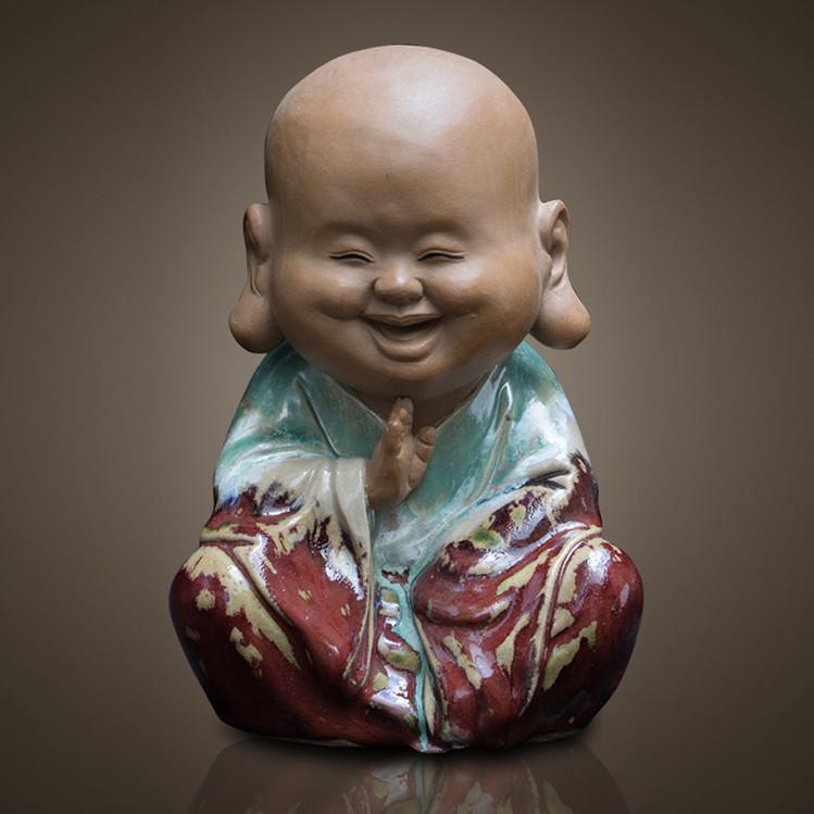Tượng Di Lạc Niệm Phật Men Xanh 22cm
