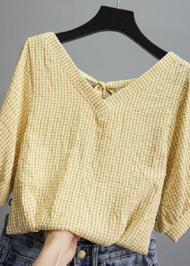 Áo thời trang caro nhí tay lửng - thắt nơ sau lưng - 9816498 , 3960590049971 , 62_17465062 , 830000 , Ao-thoi-trang-caro-nhi-tay-lung-that-no-sau-lung-62_17465062 , tiki.vn , Áo thời trang caro nhí tay lửng - thắt nơ sau lưng