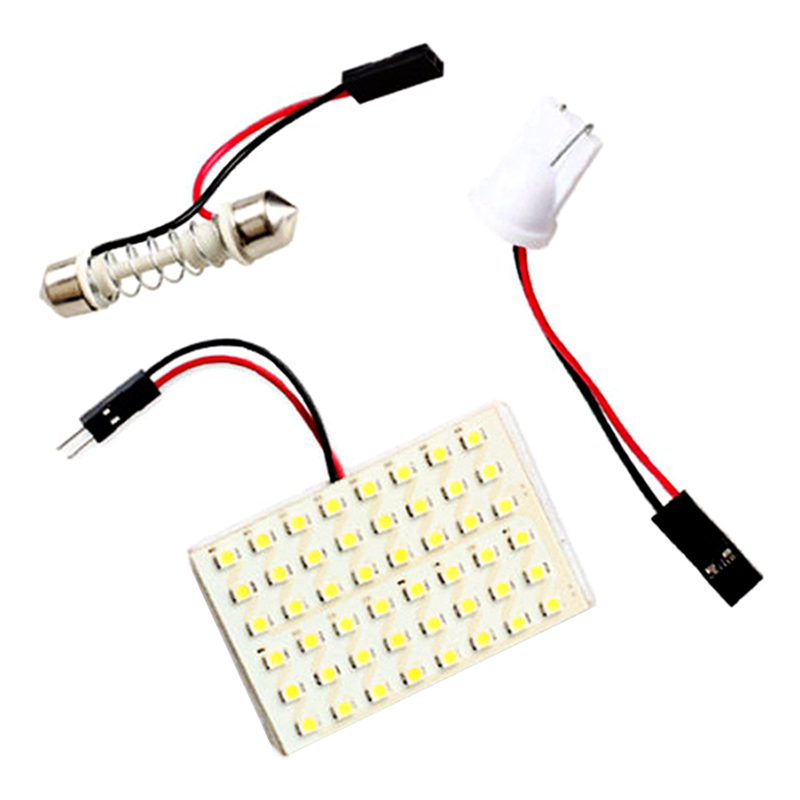 48/36/24/12 LED Panel White Car Reading Map Lamp Auto Dome Interior Bulb Roof Light with T10 Adapter