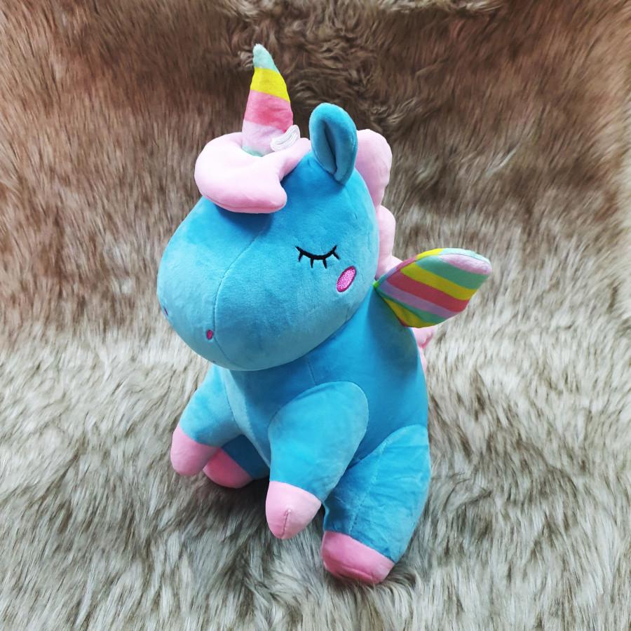 Kỳ lân unicorn nhồi bông size 40cm màu xanh