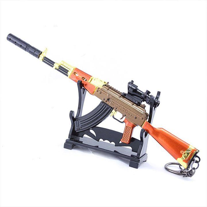 Móc khóa mô hình Game PUBG - AKM Gỗ Rắn Vàng + giá đỡ mô hình - 20cm