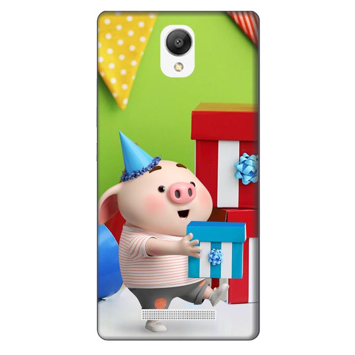 Ốp lưng nhựa cứng nhám dành cho Xiaomi Redmi Note 2 in hình Heo Con Mừng Sinh Nhật