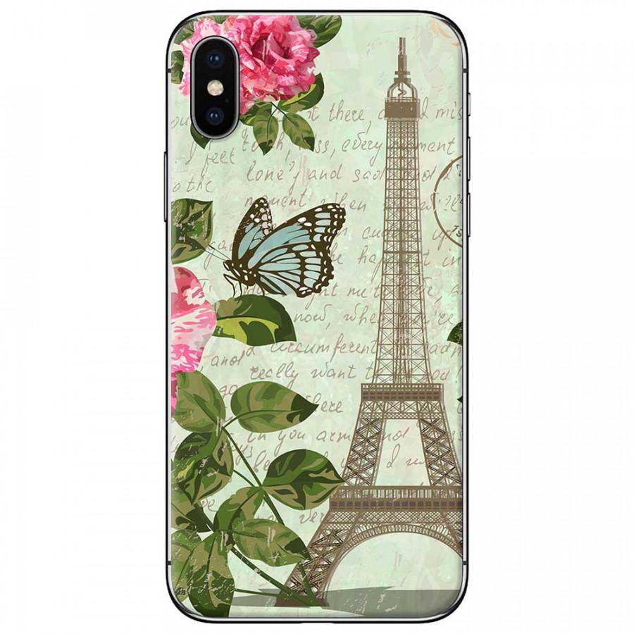Ốp lưng dành cho iPhone X mẫu Tháp Effiel con bướm