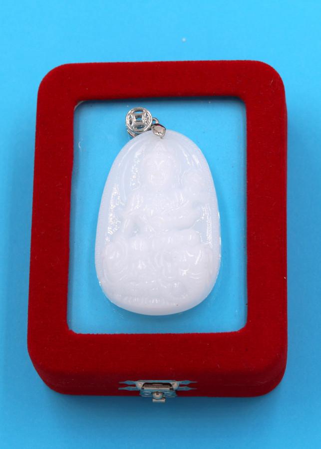 Mặt phật Bồ tát Phổ hiền trắng 5cm kèm hộp nhung